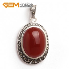 G6115 red agate FASHION oval beads Marcasite silver pendant 20x36mm 1 PCS FREE gift box +chain Pendants Fashion Jewelry Jewellery