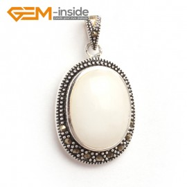 G6116 white agate FASHION oval beads Marcasite silver pendant 20x36mm 1 PCS FREE gift box +chain Pendants Fashion Jewelry Jewellery