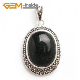 G6120 green goldstone FASHION oval beads Marcasite silver pendant 20x36mm 1 PCS FREE gift box +chain Pendants Fashion Jewelry Jewellery