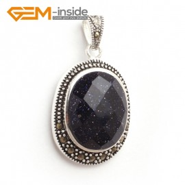 G6121 blue sandstone FASHION oval beads Marcasite silver pendant 20x36mm 1 PCS FREE gift box +chain Pendants Fashion Jewelry Jewellery