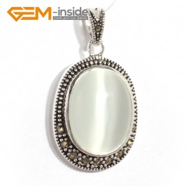 G6122 white cat eye FASHION oval beads Marcasite silver pendant 20x36mm 1 PCS FREE gift box +chain Pendants Fashion Jewelry Jewellery