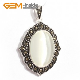 G6123 white cat eye FASHION oval beads Marcasite siver pendant 26x42mm 1 PCS FREE gift box +chain Pendants Fashion Jewelry Jewellery