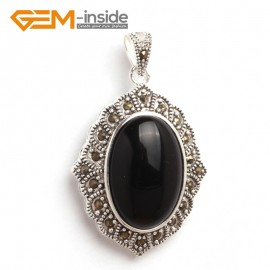 G6127 black agate FASHION oval beads Marcasite siver pendant 26x42mm 1 PCS FREE gift box +chain Pendants Fashion Jewelry Jewellery