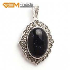 G6128 blue sandstone FASHION oval beads Marcasite siver pendant 26x42mm 1 PCS FREE gift box +chain Pendants Fashion Jewelry Jewellery