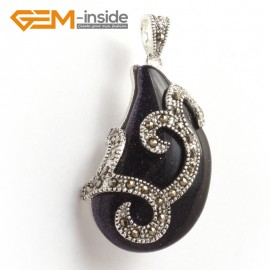G6318  21x41mm Natural Blue Sandstone Bead Marcasite Silver Necklace Pendants Fashion Jewelry Jewellery for Women 1 Pcs