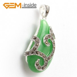 G6319  21x41mm Dyed Green Jade Bead Marcasite Silver Necklace Pendants Fashion Jewelry Jewellery for Women 1 Pcs