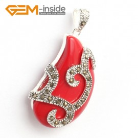 G6321 21x41mm Man-Made Red Coral Bead Marcasite Silver Necklace Pendants Fashion Jewelry Jewellery for Women 1 Pcs