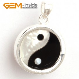 G6322 white black 16x22mm shell beads yingyang fengshui silver pendant FREE box + necklace chain Pendants Fashion Jewelry Jewellery