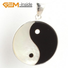 G6323 white black 21x28mm shell yingyang fengshui silver pendant FREE box + necklace chain Pendants Fashion Jewelry Jewellery