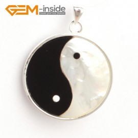 G6325 white & back 26x34mm shell yingyang fengshui silver pendant FREE box + necklace chain Pendants Fashion Jewelry Jewellery