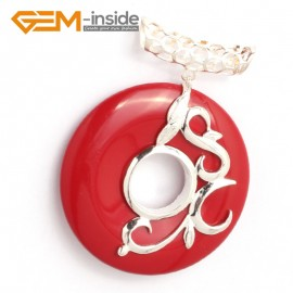 G6343 man-made  red coral Fashion new 37mm ring loop silver pendant 37mmx49mm 1 pcs FREE gift box +chain Pendants Fashion Jewelry Jewellery