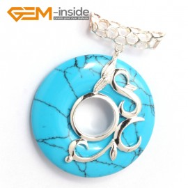 G6345 blue turquoise Fashion new 37mm ring loop silver pendant 37mmx49mm 1 pcs FREE gift box +chain Pendants Fashion Jewelry Jewellery