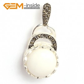 G6354 white jade coin marcasite silver pendant 18.5mm x41mm FREE gift box +chain Pendants Fashion Jewelry Jewellery