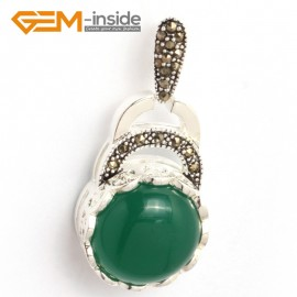G6358 dyed green jade colorful coin marcasite silver pendant 18.5mm x41mm FREE gift box +chain Pendants Fashion Jewelry Jewellery