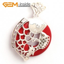G6362 man-made  red coral new fashion colorful ring silver pendant 32x46mm FREE box +necklace chain Pendants Fashion Jewelry Jewellery