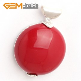 G6375 man-made  red coral colorful coin silver pendant 30 x 41mm  FREE box + necklace chain Pendants Fashion Jewelry Jewellery
