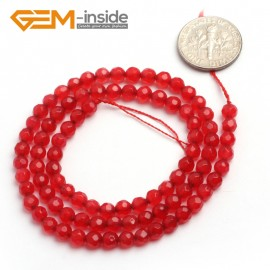 "G6383 4mm G-Beads Round Faceted Red Jade Beads Strand 15"" Jewelry Making Beads 4-18MM Natural Stone Beads for Jewelry Making Wholesale"