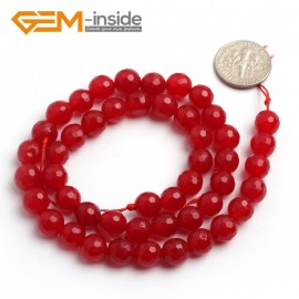 "G6384 8mm G-Beads Round Faceted Red Jade Beads Strand 15"" Jewelry Making Beads 4-18MM Natural Stone Beads for Jewelry Making Wholesale"