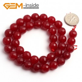 "G6385 10mm G-Beads Round Faceted Red Jade Beads Strand 15"" Jewelry Making Beads 4-18MM Natural Stone Beads for Jewelry Making Wholesale"