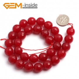 "G6386 12mm G-Beads Round Faceted Red Jade Beads Strand 15"" Jewelry Making Beads 4-18MM Natural Stone Beads for Jewelry Making Wholesale"