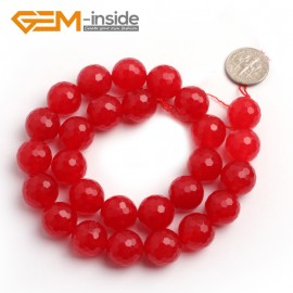 "G6387 14mm G-Beads Round Faceted Red Jade Beads Strand 15"" Jewelry Making Beads 4-18MM Natural Stone Beads for Jewelry Making Wholesale"