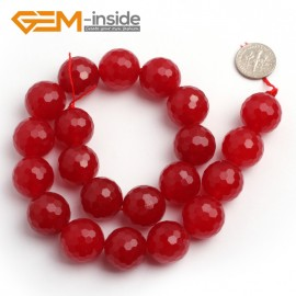 "G6389 18mm G-Beads Round Faceted Red Jade Beads Strand 15"" Jewelry Making Beads 4-18MM Natural Stone Beads for Jewelry Making Wholesale"