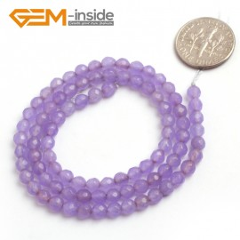 "G6394 4mm Round Faceted Purple Jade Gemstone Beads Strand 15"" Natural Stone Beads for Jewelry Making Wholesale"