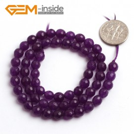 "G6400 6mm Round Faceted Dark Purple Jade Gemstone Beads Jewelry Making Loose Beads 15"" Natural Stone Beads for Jewelry Making Wholesale"