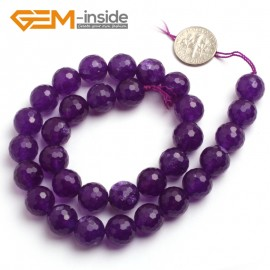 "G6401 12mm Round Faceted Dark Purple Jade Gemstone Beads Jewelry Making Loose Beads 15"" Natural Stone Beads for Jewelry Making Wholesale"