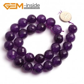 "G6402 14mm Round Faceted Dark Purple Jade Gemstone Beads Jewelry Making Loose Beads 15"" Natural Stone Beads for Jewelry Making Wholesale"