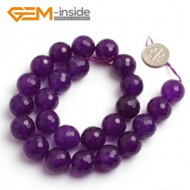 "G6403 15mm Round Faceted Dark Purple Jade Gemstone Beads Jewelry Making Loose Beads 15"" Natural Stone Beads for Jewelry Making Wholesale"