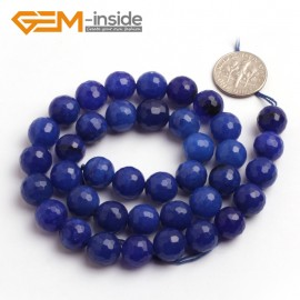 "G6405 10mm Round Faceted Dark Blue Jade Gemstone Loose Bead Strand 15"" 10 12 14MM Pick Natural Stone Beads for Jewelry Making Wholesale"