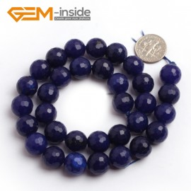 "G6406 12mm Round Faceted Dark Blue Jade Gemstone Loose Bead Strand 15"" 10 12 14MM Pick Natural Stone Beads for Jewelry Making Wholesale"