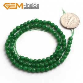 "G6407 4mm G-Beads round faceted green jade beads 15"" Natural Stone Beads for Jewelry Making Wholesale"