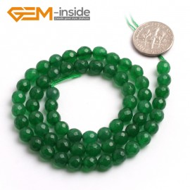 "G6408 6mm G-Beads round faceted green jade beads 15"" Natural Stone Beads for Jewelry Making Wholesale"