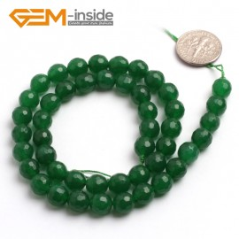 "G6409 8mm G-Beads round faceted green jade beads 15"" Natural Stone Beads for Jewelry Making Wholesale"