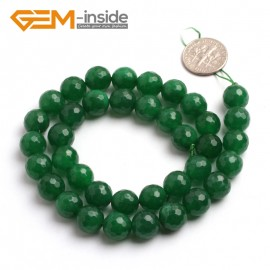 "G6410 10mm G-Beads round faceted green jade beads 15"" Natural Stone Beads for Jewelry Making Wholesale"