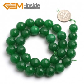 "G6411 12mm G-Beads round faceted green jade beads 15"" Natural Stone Beads for Jewelry Making Wholesale"