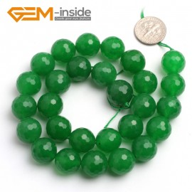 "G6412 15-16mm G-Beads round faceted green jade beads 15"" Natural Stone Beads for Jewelry Making Wholesale"