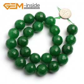"G6413 13-14mm G-Beads round faceted green jade beads 15"" Natural Stone Beads for Jewelry Making Wholesale"