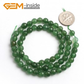 "G6415 6mm G-Beads Round Faceted Green Aventurine Jade Jewewlry Making Gemstone Beads 15"" Natural Stone Beads for Jewelry Making Wholesale"
