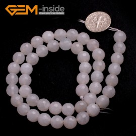 "G6424 8mm G-Beads Round Faceted  Gemstone White Jade Beads Jewelry Making Loose Beads15"" Natural Stone Beads for Jewelry Making Wholesale"