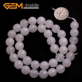 "G6425 10mm G-Beads Round Faceted  Gemstone White Jade Beads Jewelry Making Loose Beads15"" Natural Stone Beads for Jewelry Making Wholesale"