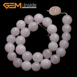"G6426 13-14mm G-Beads Round Faceted  Gemstone White Jade Beads Jewelry Making Loose Beads15"" Natural Stone Beads for Jewelry Making Wholesale"
