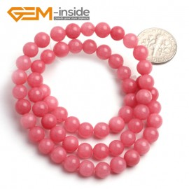 "G6444 6mm G-Beads Pretty Round Hot Pink Jade Beads Jewelry Making Beads15"" Natural Stone Beads for Jewelry Making Wholesale"