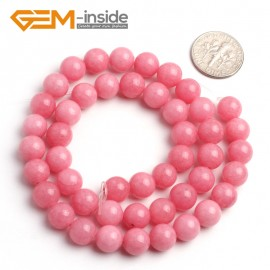"G6445 8mm G-Beads Pretty Round Hot Pink Jade Beads Jewelry Making Beads15"" Natural Stone Beads for Jewelry Making Wholesale"