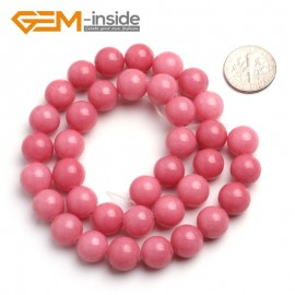 "G6446 10mm G-Beads Pretty Round Hot Pink Jade Beads Jewelry Making Beads15"" Natural Stone Beads for Jewelry Making Wholesale"
