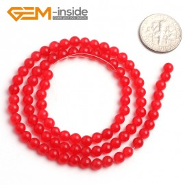 "G6447 4mm Round Red Jade Loose Beads Stone Strand 15 "" Stone Beads for Jewelry Making Wholesale"
