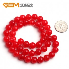 "G6449 8mm Round Red Jade Loose Beads Stone Strand 15 "" Stone Beads for Jewelry Making Wholesale"