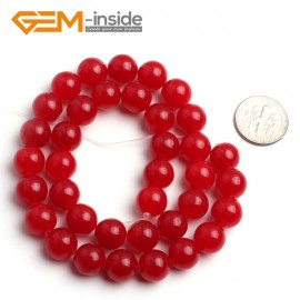 """G6450 10mm Round Red Jade Loose Beads Stone Strand 15 """" Stone Beads for Jewelry Making Wholesale"""